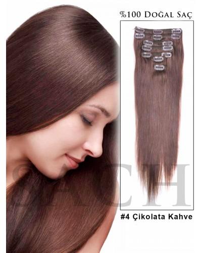 Çikolata Kahve Saç Rengi %100 Doğal 8 Parça Çıt Çıt Saç 150 Gram