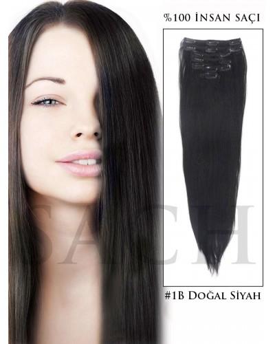 8 Parça Siyah Doğal Çıt Çıt Saç Seti 150 Gram