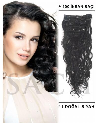 %100 Doğal Siyah Brezilya Saçı Dalgalı Çıt Çıt Saç 8 Parça 150 Gram